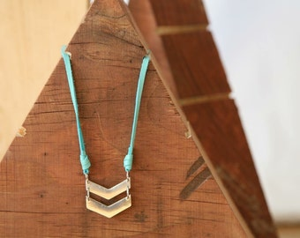 Double chevron everyday necklace in fine silver