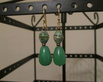 African Green Paper Bead and Green Jade Earrings