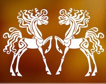 Horse Lover Gift, Horse Decor, Horse Wall Decal, Fantasy Animal Art Vinyl Wall Decals (01711c0v)
