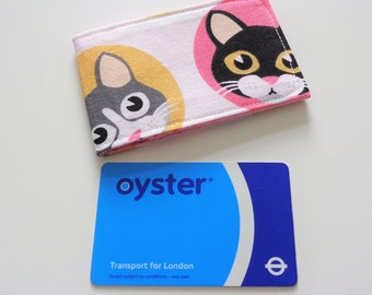 Cat card holder etsy cute cats design oyster card holder train ticket holder credit card holder business reheart Images