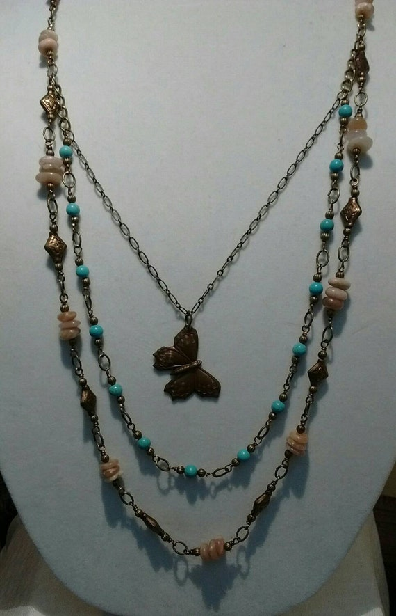 Sunstone and Magnesite  Multi Strand Necklace N6151739