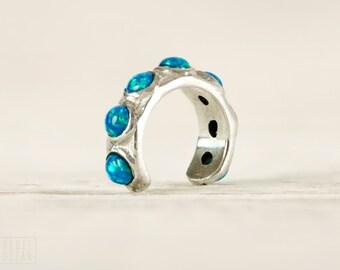 Sterling Silver Ear Cuff Earring Blue Opal Stones Inlay Ear Wrap Earrings Boho Jewelry - ECU009