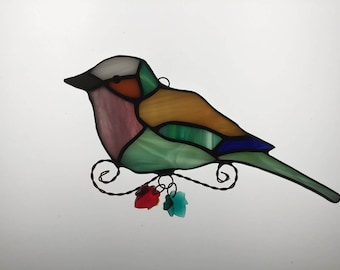 African Lilac Breasted Roller Misfit Suncatcher in Stained Glass