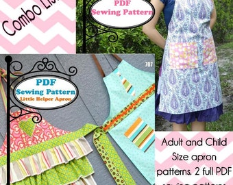Adult and Child Aprons PDF Sewing Pattern -- Instant Download!