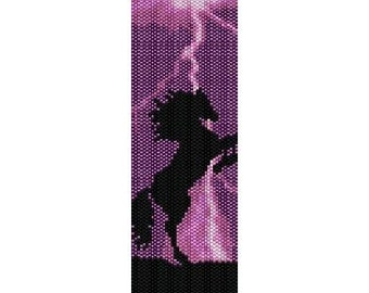 Instant Download Beading Pattern Loom Stitch Bracelet Purple Thunder Horse Seed Bead Cuff