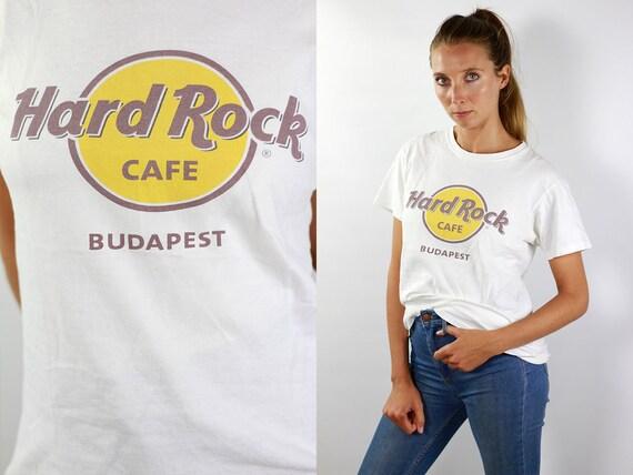 Hard Rock Cafe T-Shirt Hard Rock Cafe Shirt White T-Shirt Hard Rock Cafe Budapest Vintage Hard Rock T-Shirt White Budapest T-Shirt White 90s