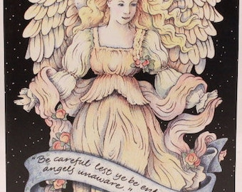 Among Friends Angelic Greeting Card. One Card and Envelope. Linn Creek, Mo.