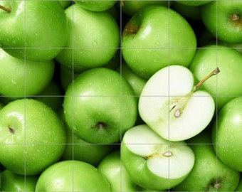 "Green Apples Ceramic Tile Mural 24"" x 36"" Kitchen Backsplash Wall"