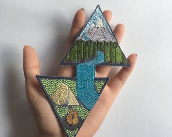 Embroidered Patch: Geometric Mountain Forest Stream and Camping