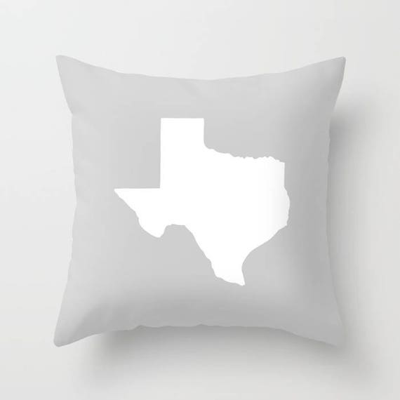 Texas Throw Pillow . Gray Pillow . Texas Cushion . Silver Pillow . Texas Pillow . Texas State . Grey Pillow . Texas Gift 14 16 18 20 inch