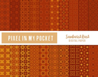 Brown & Orange Sunburst Rust Digital Patterned Paper Pack [Instant Download]
