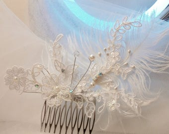 Pretty hair comb for bride, silver metal support
