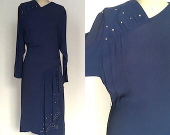 1940s medium / large rayon crepe dress