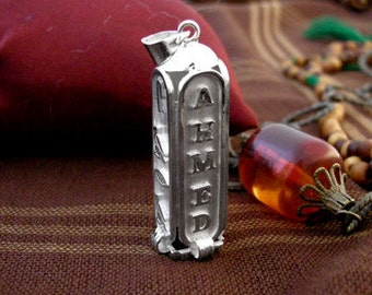 Cartouche etsy egyptian cartouche four sides pendant egyptian silver cartouche personalized gifts for girlfriend audiocablefo