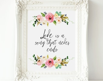 Love is a song that never ends, Disney printable art, Disney Love quote , Disney Bambi quote, Disney wall art, Disney decor, Bambi wall art