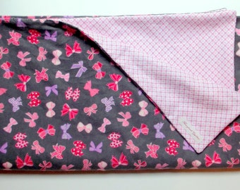 Dark Grey and Pink Bows Baby Blanket, Soft and Comfy