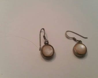 Vintage Sterling Silver Earrings Mother of Pearl Inlay