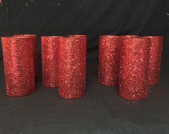 "Glitter Cylinder Vases 7 1/4"" . Set of 10. For Baby Shower, Birthday Party, Wedding, etc..."