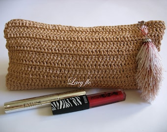 Small cosmetic makeup, crocheted handbags, clutches, evening bags with zipper, summer bags, wallets