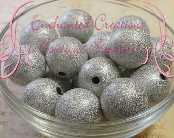 20mm Silver Stardust Acylic Beads Qty 10