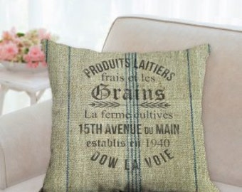 Rustic French Grain Sack Pillow (not real grain sack) design is screen printed on.