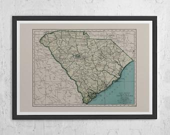 SOUTH CAROLINA MAP - Vintage Map of South Carolina - South Carolina Map, South Carolina Poster, Vintage Map Print, Wall Art