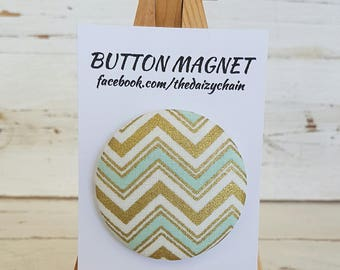 Large Fabric Button Magnet - Golden Arrows design - Fridge Magnets - Office Magnets - Memo board Magnet - Study decor