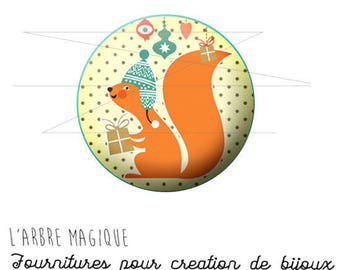 2 cabochons craft Christmas squirrel ref 1464 - 16 mm.