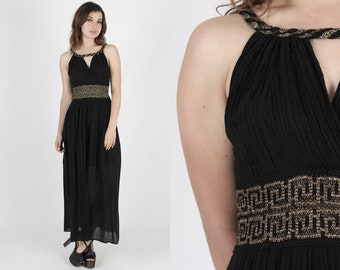 Black Dress Gauze Dress Ethnic Dress Metallic Dress Summer Dress Vintage 70s Grecian Gold Sleeveless Thin Cotton Hippie Boho Maxi Dress S