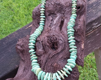 Native American long turquoise vintage Navajo necklace