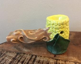Corn cob ceramic pipe