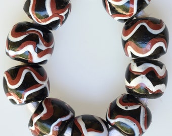 9 Larger Sized Antique Black & Red Venetian Trade Beads in Very Good Condition  - Vintage African Trade Beads - 9073