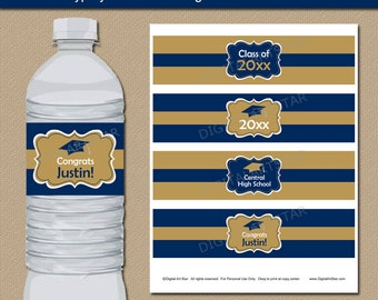 Graduation Party Decoration, Navy and Gold Water Bottle Label, Printable College Graduation Bottle Label Template, Blue and Gold Labels G1