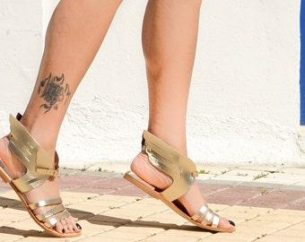Greek leather sandals, Greek handmade leather sandals,,Hermes winged sandals, summer leather sandals, Women leather sandals, Gold Sandals