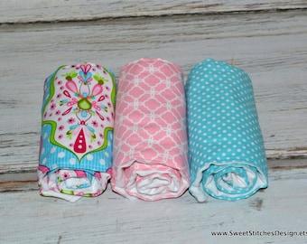 Baby Girl Burp Cloth Set  Girl Burp Cloths Pink and Teal - Boutique Baby Burp Cloths