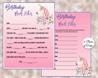 Unicorn Party - Girls Birthday Party Mad Libs - Birthday Mad Libs - Birthday Party Printable -DIY Mad Lib Game