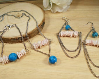 Handmade gemstone jewelryset/turquoise and rose Chalcedon/gemstone Jewelry/Trendy jewelryset/bracelet, earrings and necklace with gemstone