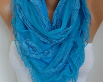 Blue Lace Scarf,Wedding Shawl,Bridal Scarf,Bridal Accessories, Bridesmaid Gifts, Gift Ideas For Her, Women Fashion Accessories