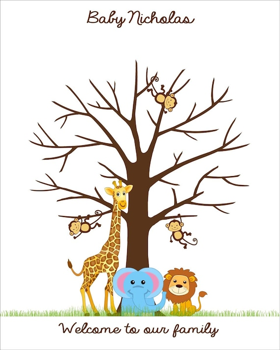 free printable baby book templates - jungle baby shower fingerprint guest book poster safari