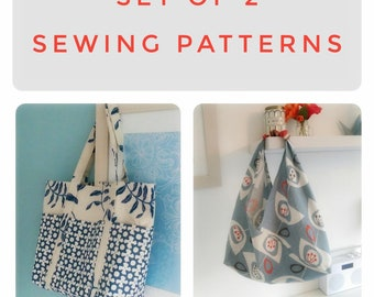 Set of 2 Tote Bag sewing patterns Doris & Boho Origami. Perfect for shopping or holidays. Easy to follow instructions.