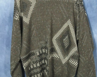 Vintage 80s Gray Zeppelin Sweater // Abstract Geometric // Pullover Jumper
