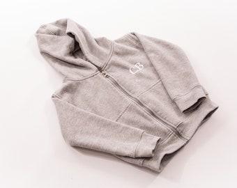 The 'Tate' zip up grey hoodie