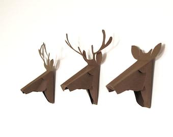 set of 3 faux deer head, faux taxidermy , greeting card, brown