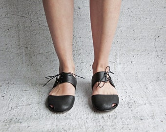 Flint - Black - FREE SHIPPING - Handmade Leather Women Flat Shoes with Summer Sale Price