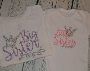 Sibling Shirt Set Big Sister Little Sister Crown and Arrow Sibling set