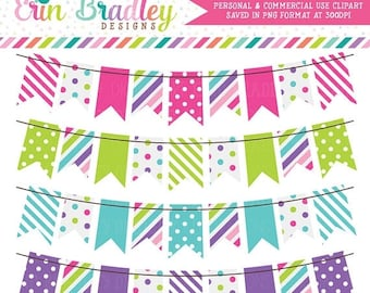 80% OFF SALE Cotton Candy Colorful Bunting Banner Flag Clipart Clip Art Set Personal & Commercial Use