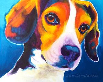 Beagle Art, Pet Portrait, Colorful Beagle, DawgArt, Dog Art, Art Prints, Colorful pet portrait, pet portrait artist, dog painting, Art