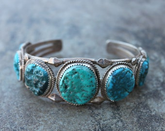 Sterling Silver Cuff with 7 Turquoise Stones