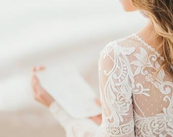 Amazing Long Sleeve bohemian wedding dress, boho wedding dress, lace wedding dress, backless wedding dress, boho bridal gown, bridal dress