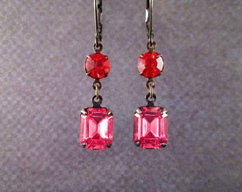 Rhinestone Earrings, Pink and Red Glass Rhinestones, Gunmetal Silver Drop Earrings, FREE Shipping U.S.